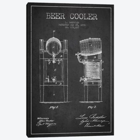 Beer Cooler Charcoal Patent Blueprint Canvas Print #ADP684} by Aged Pixel Canvas Wall Art