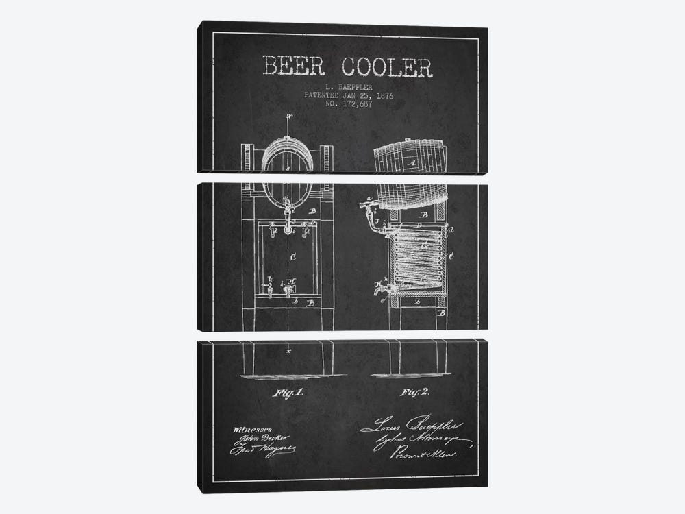 Beer Cooler Charcoal Patent Blueprint by Aged Pixel 3-piece Art Print