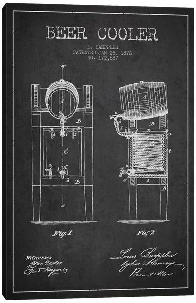 Beer Cooler Charcoal Patent Blueprint Canvas Art Print