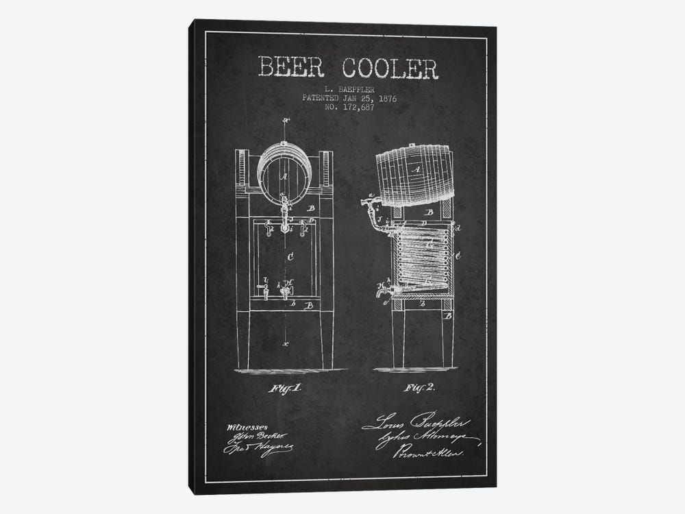 Beer Cooler Charcoal Patent Blueprint by Aged Pixel 1-piece Art Print