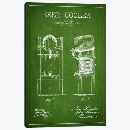 Beer Cooler Green Patent Blueprint Canvas Print #ADP685} by Aged Pixel Canvas Wall Art