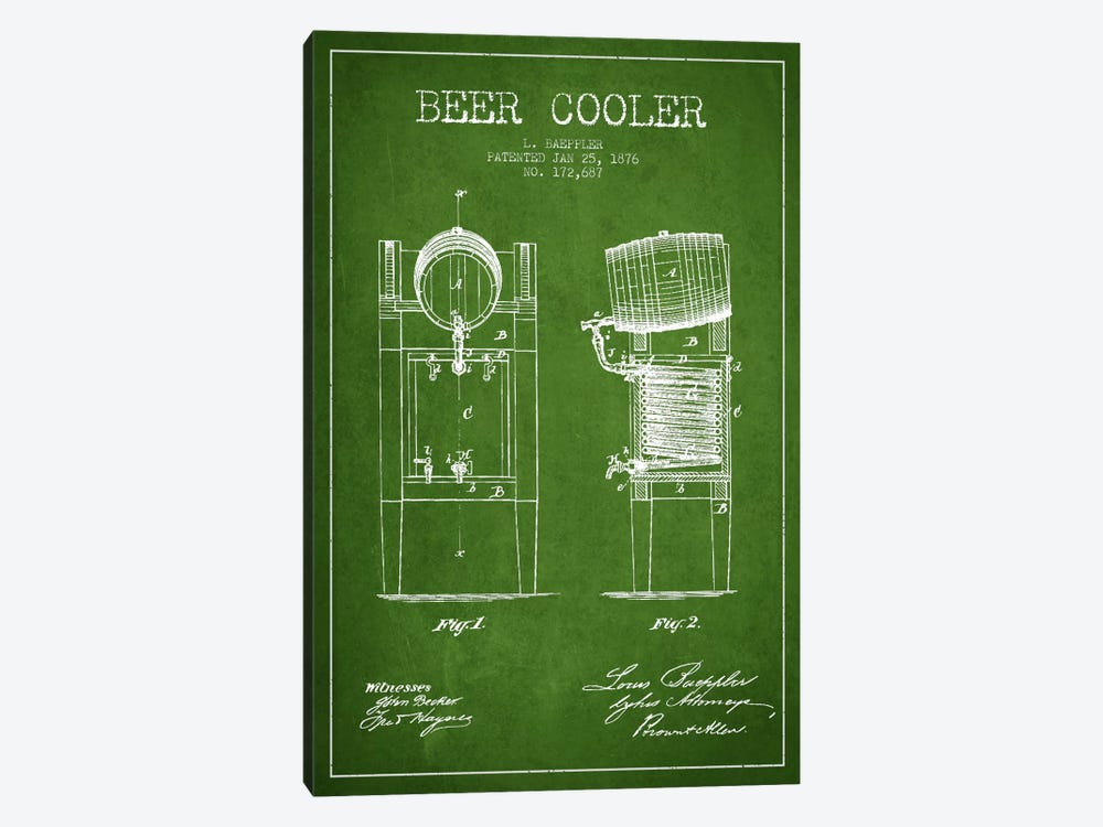Beer Cooler Green Patent Blueprint by Aged Pixel 1-piece Canvas Artwork