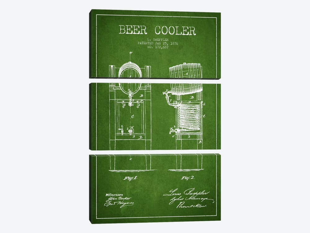 Beer Cooler Green Patent Blueprint by Aged Pixel 3-piece Canvas Wall Art
