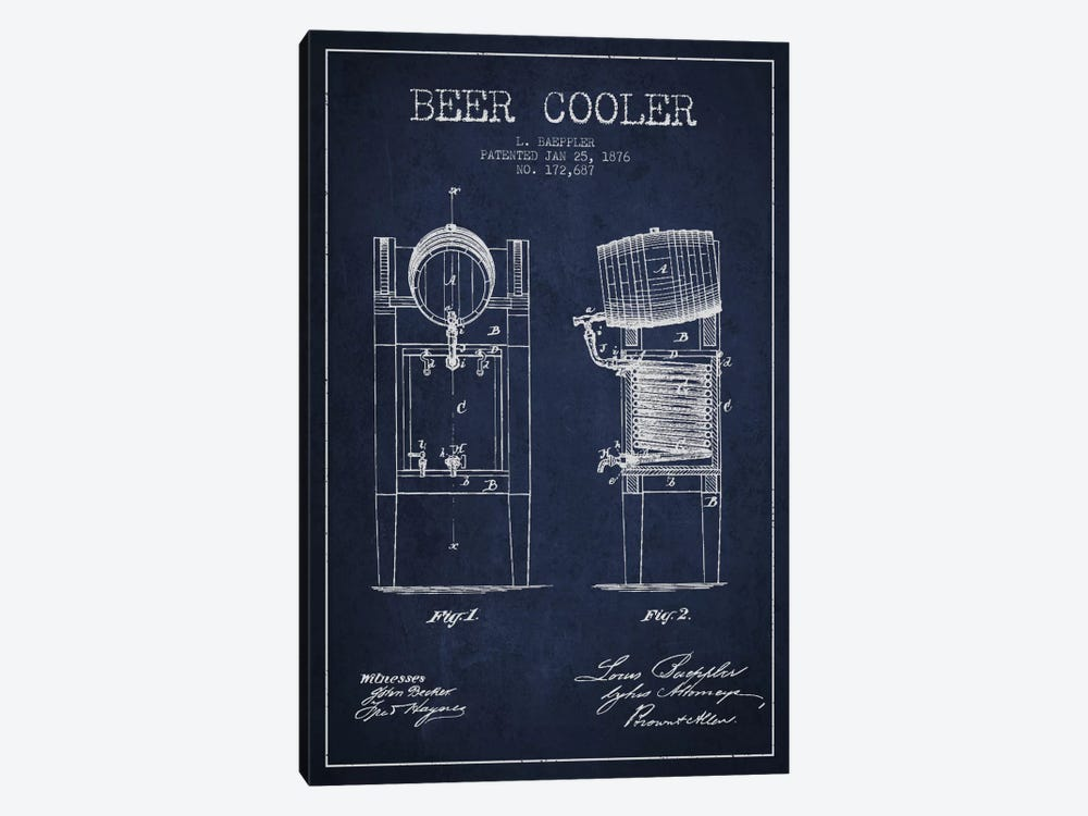 Beer Cooler Navy Blue Patent Blueprint by Aged Pixel 1-piece Canvas Print