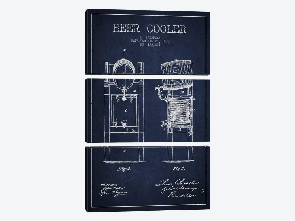 Beer Cooler Navy Blue Patent Blueprint by Aged Pixel 3-piece Art Print