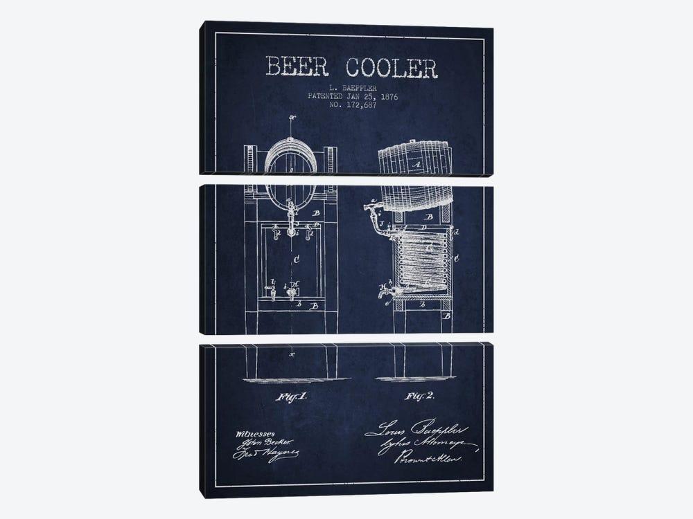 Beer Cooler Navy Blue Patent Blueprint by Aged Pixel 3-piece Art Print
