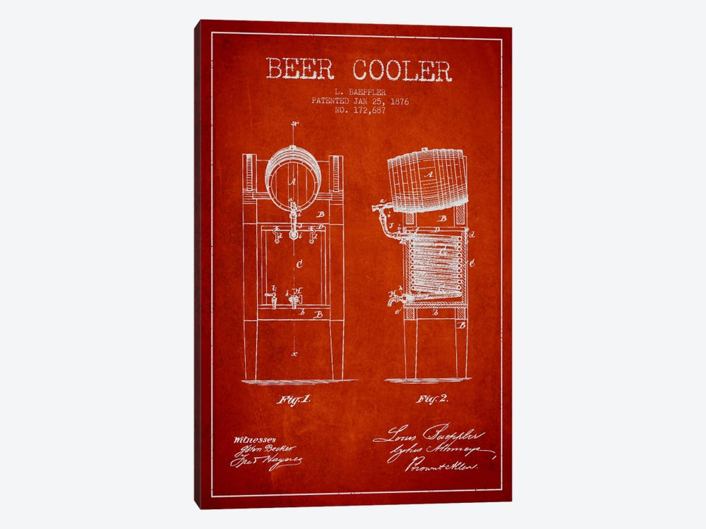 Beer Cooler Red Patent Blueprint by Aged Pixel 1-piece Canvas Art