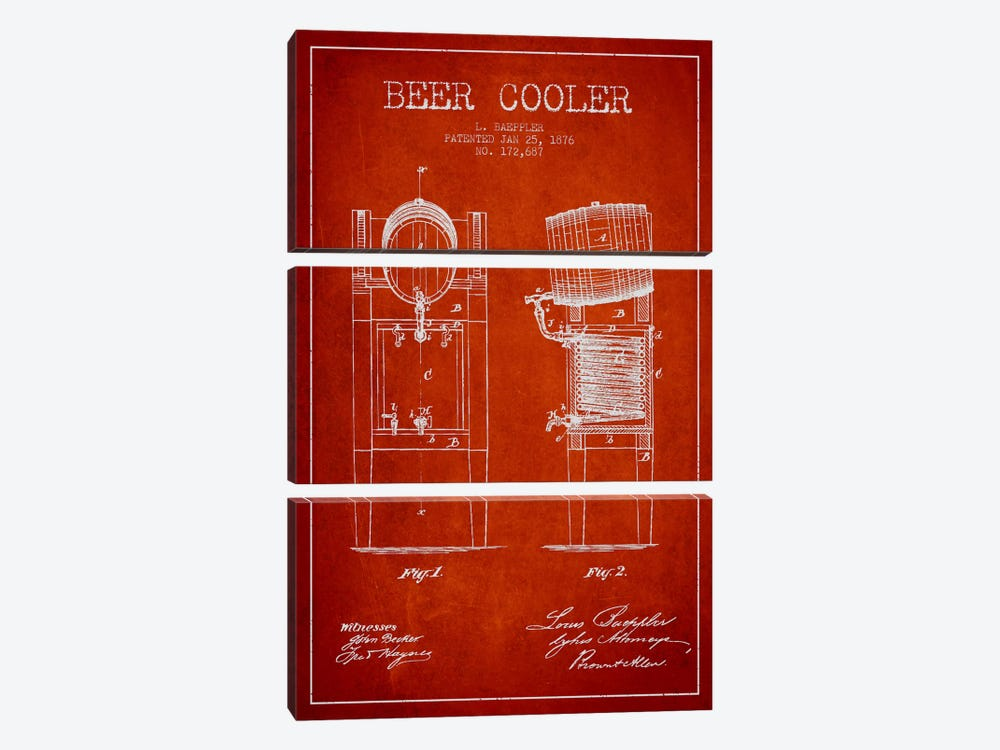 Beer Cooler Red Patent Blueprint 3-piece Canvas Art