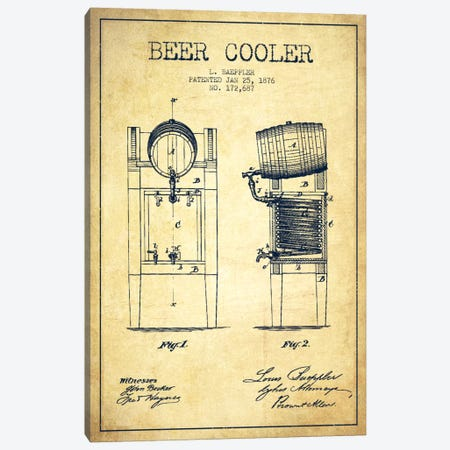Beer Cooler Vintage Patent Blueprint Canvas Print #ADP688} by Aged Pixel Canvas Art Print