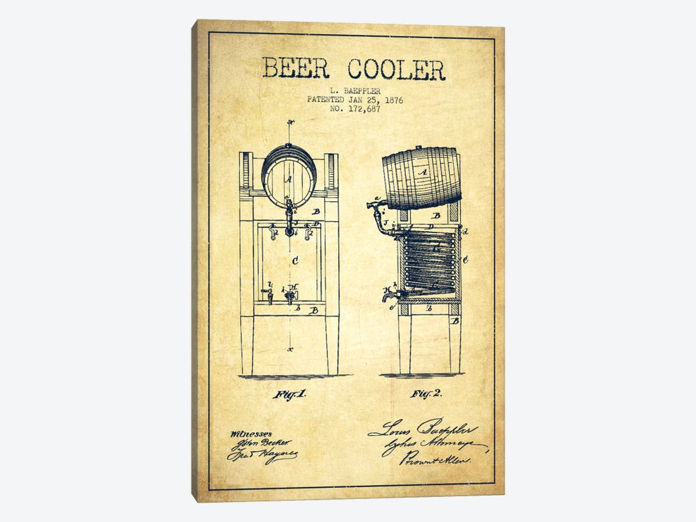 Beer Cooler Vintage Patent Blueprint by Aged Pixel 1-piece Canvas Art Print