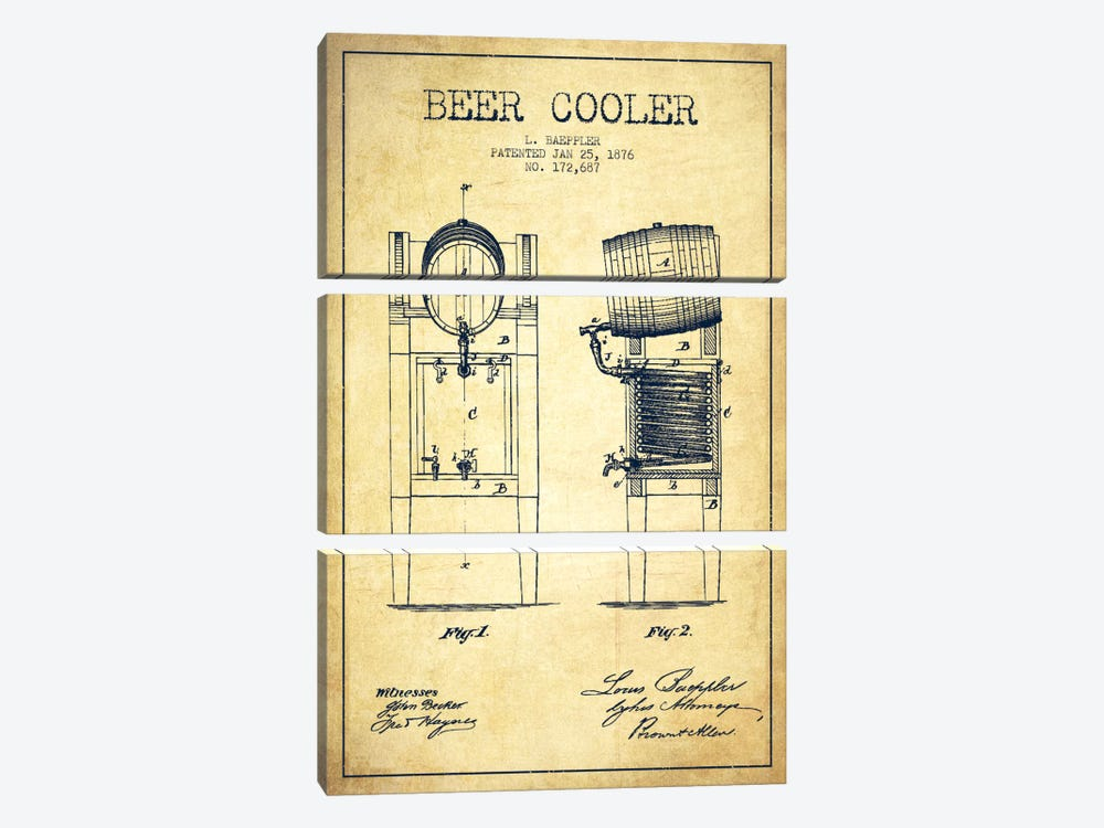 Beer Cooler Vintage Patent Blueprint by Aged Pixel 3-piece Art Print