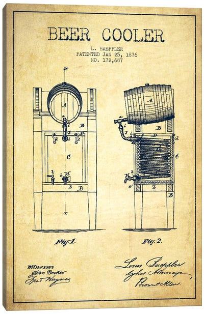 Beer Cooler Vintage Patent Blueprint Canvas Art Print