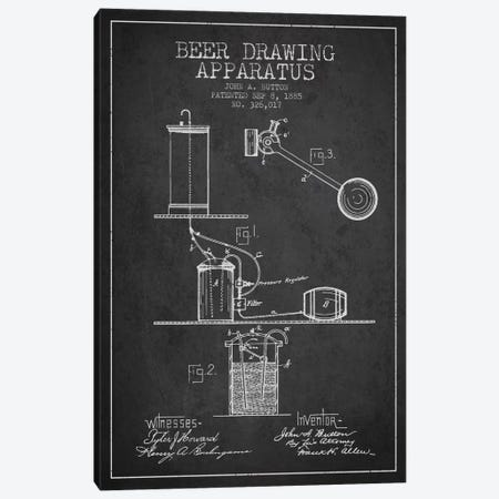 Beer Drawing Charcoal Patent Blueprint Canvas Print #ADP689} by Aged Pixel Art Print
