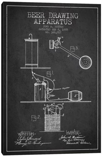 Beer Drawing Charcoal Patent Blueprint Canvas Print #ADP689
