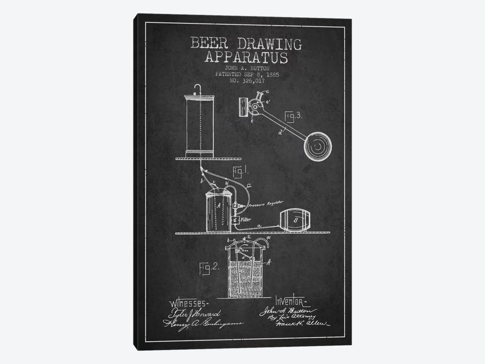 Beer Drawing Charcoal Patent Blueprint by Aged Pixel 1-piece Canvas Artwork