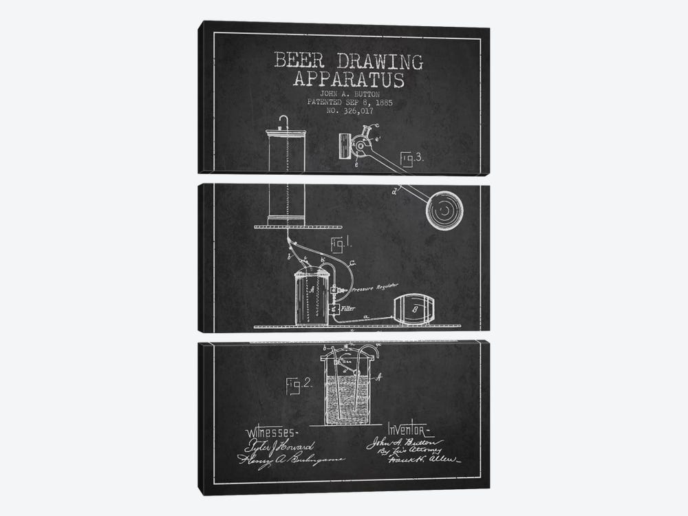Beer Drawing Charcoal Patent Blueprint by Aged Pixel 3-piece Canvas Art