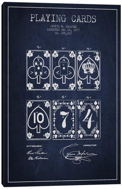 Saladee Cards Navy Blue Patent Blueprint Canvas Art Print