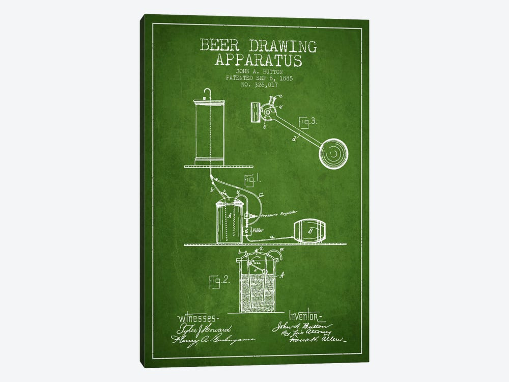 Beer Drawing Green Patent Blueprint by Aged Pixel 1-piece Canvas Art