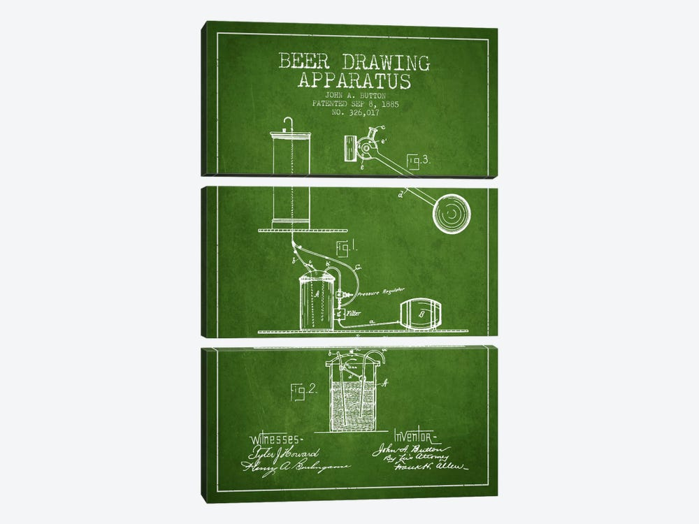 Beer Drawing Green Patent Blueprint by Aged Pixel 3-piece Canvas Wall Art