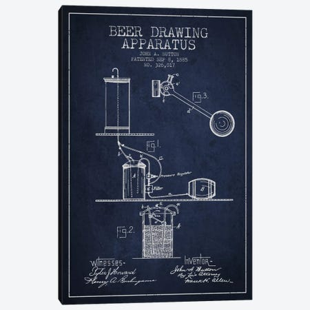 Beer Drawing Navy Blue Patent Blueprint Canvas Print #ADP691} by Aged Pixel Canvas Artwork