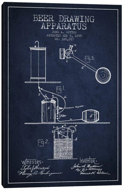 Beer Drawing Navy Blue Patent Blueprint Canvas Art Print