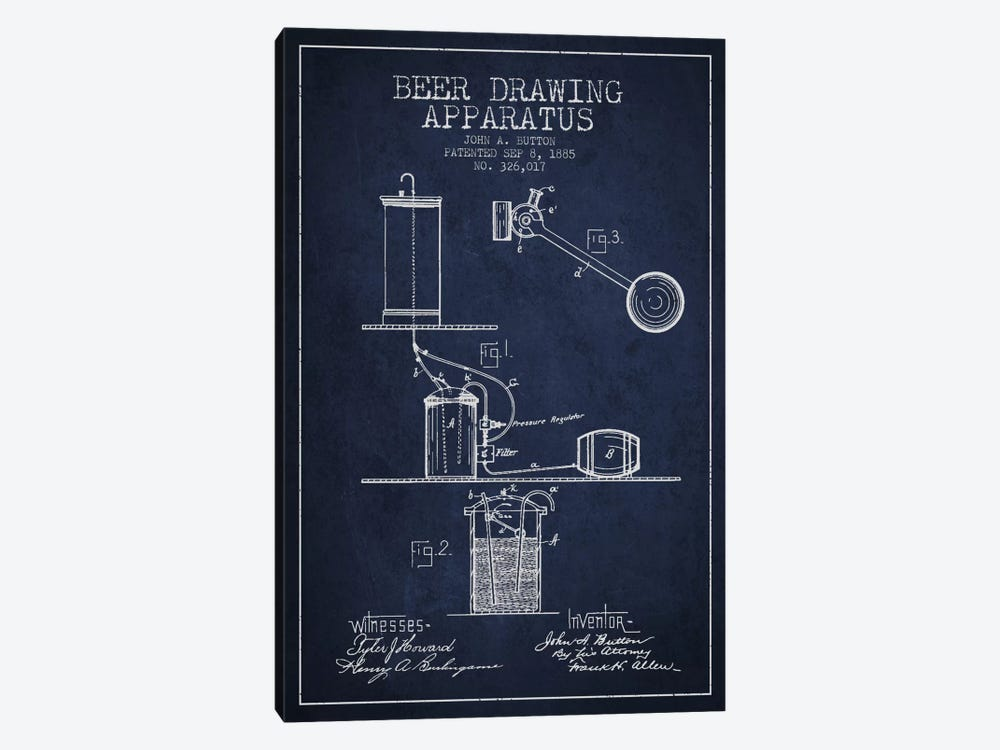 Beer Drawing Navy Blue Patent Blueprint by Aged Pixel 1-piece Art Print