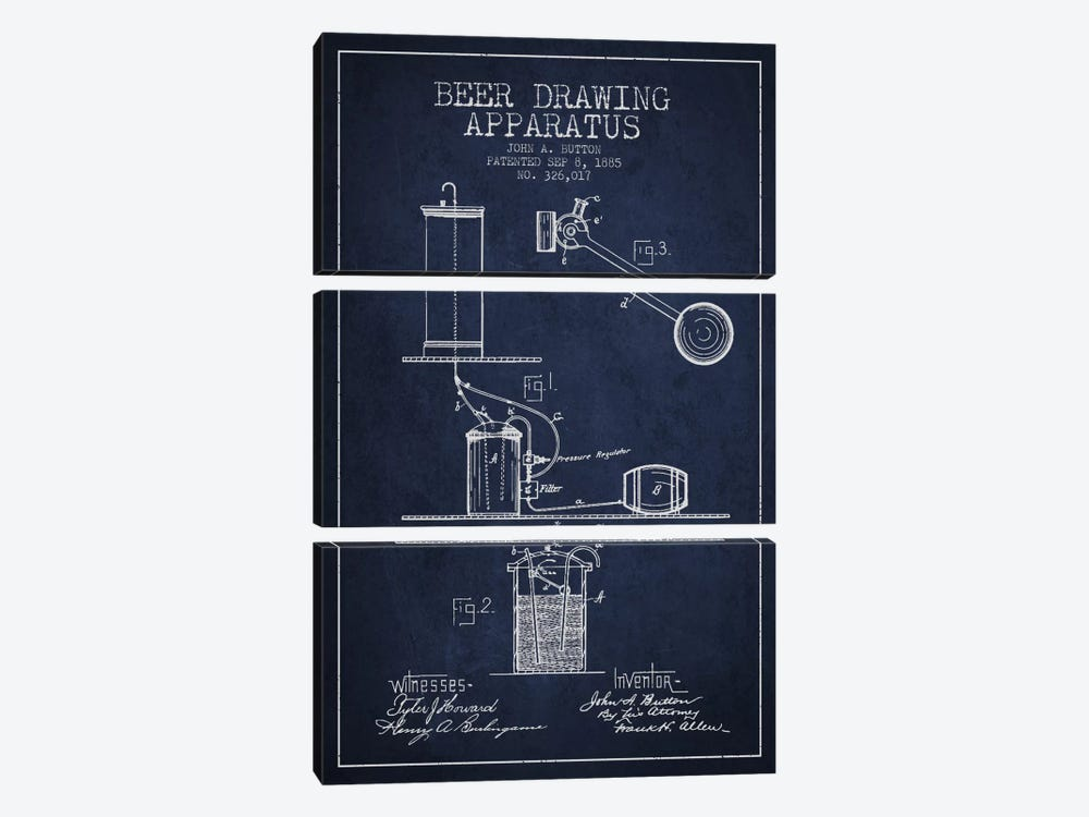 Beer Drawing Navy Blue Patent Blueprint by Aged Pixel 3-piece Art Print
