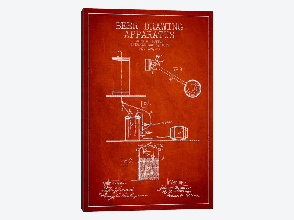 Beer Drawing Red Patent Blueprint by Aged Pixel 1-piece Canvas Wall Art