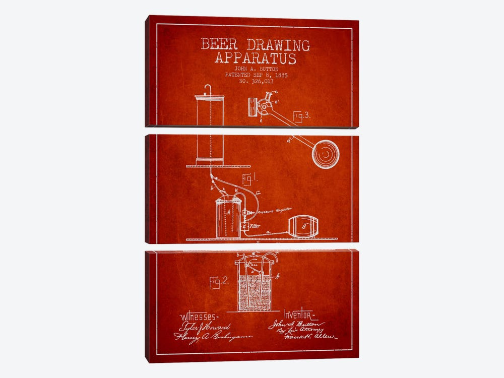 Beer Drawing Red Patent Blueprint by Aged Pixel 3-piece Canvas Wall Art