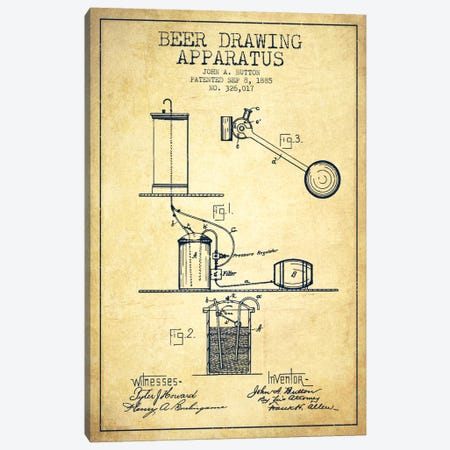 Beer Drawing Vintage Patent Blueprint Canvas Print #ADP693} by Aged Pixel Canvas Art