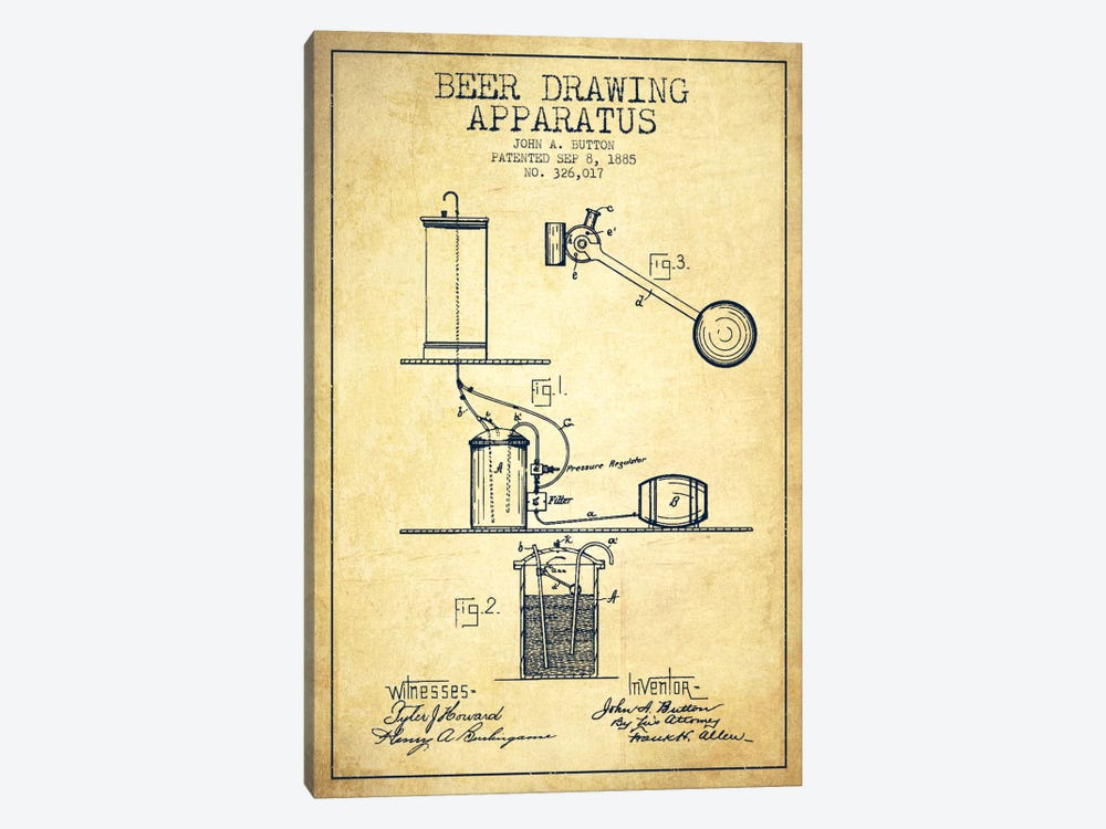Beer Drawing Vintage Patent Blueprint by Aged Pixel 1-piece Art Print