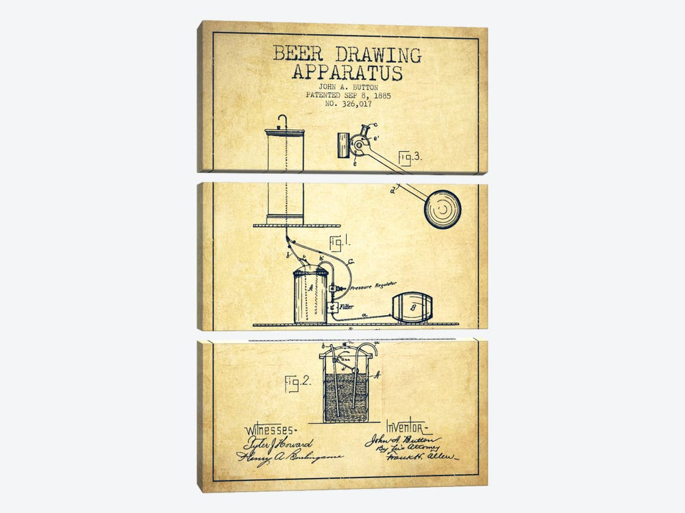 Beer Drawing Vintage Patent Blueprint by Aged Pixel 3-piece Canvas Print