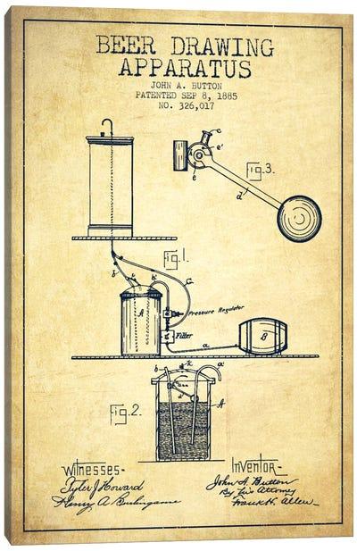 Beer Drawing Vintage Patent Blueprint Canvas Art Print