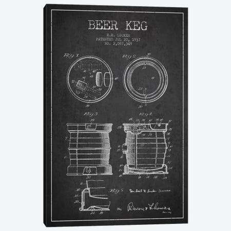 Beer Keg Charcoal Patent Blueprint Canvas Print #ADP694} by Aged Pixel Canvas Print