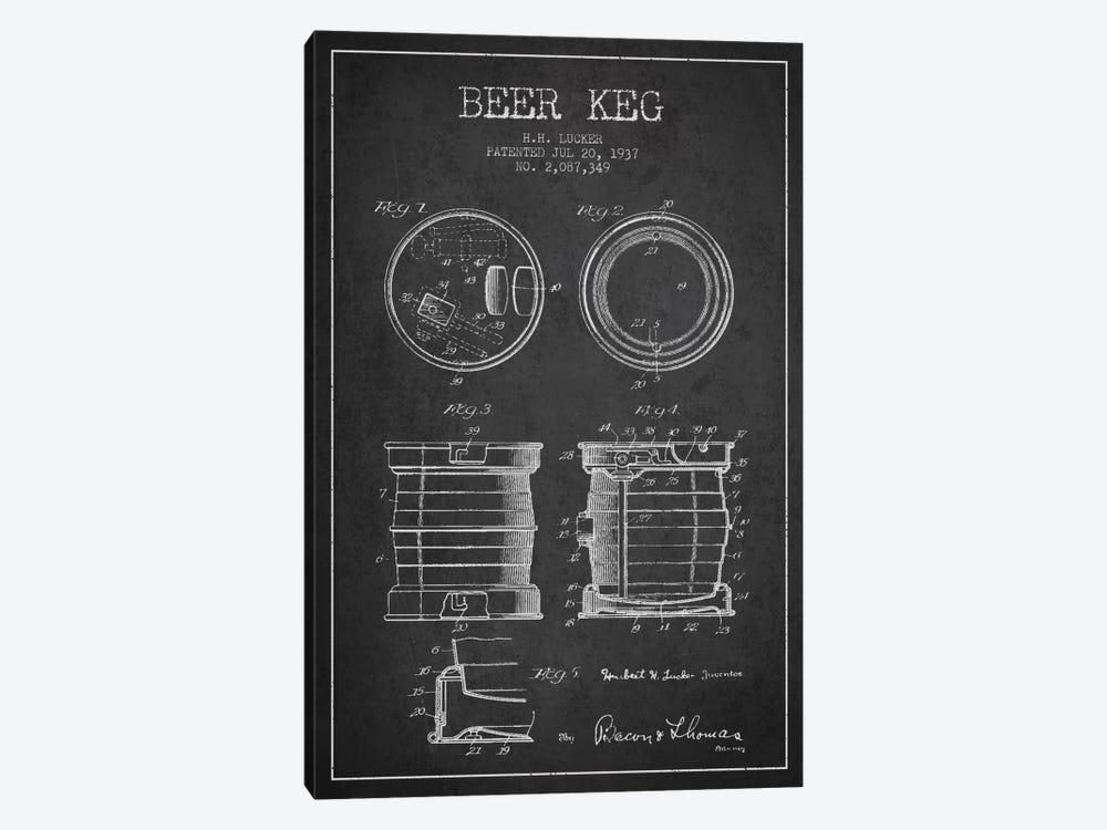 Beer Keg Charcoal Patent Blueprint 1-piece Canvas Art