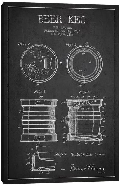 Beer Keg Charcoal Patent Blueprint Canvas Art Print