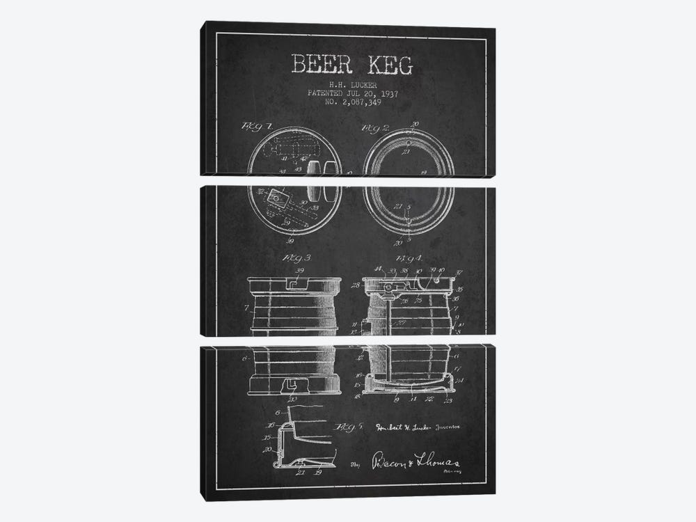 Beer Keg Charcoal Patent Blueprint by Aged Pixel 3-piece Canvas Artwork