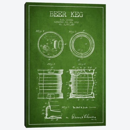 Beer Keg Green Patent Blueprint Canvas Print #ADP695} by Aged Pixel Canvas Art Print