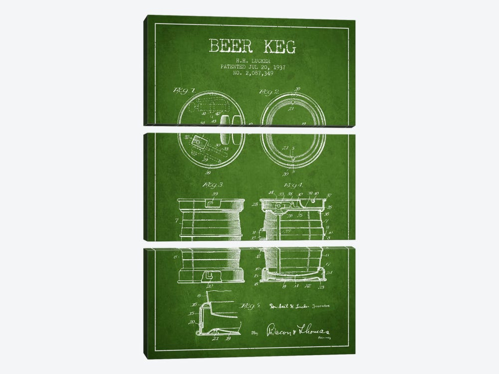 Beer Keg Green Patent Blueprint by Aged Pixel 3-piece Canvas Art Print