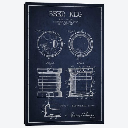Beer Keg Navy Blue Patent Blueprint Canvas Print #ADP696} by Aged Pixel Canvas Art Print