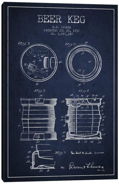 Beer Keg Navy Blue Patent Blueprint Canvas Art Print