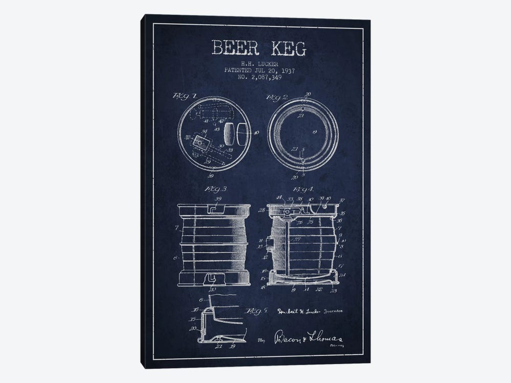 Beer Keg Navy Blue Patent Blueprint by Aged Pixel 1-piece Canvas Art