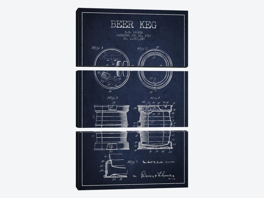 Beer Keg Navy Blue Patent Blueprint by Aged Pixel 3-piece Canvas Artwork