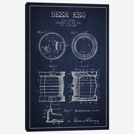 Beer Keg Navy Blue Patent Blueprint Canvas Print #ADP696} by Aged Pixel Canvas Art Print