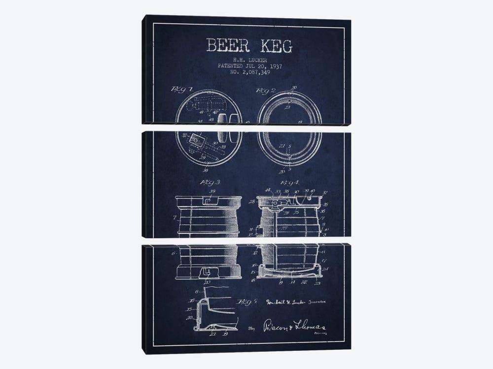 Beer Keg Navy Blue Patent Blueprint by Aged Pixel 3-piece Canvas Artwork
