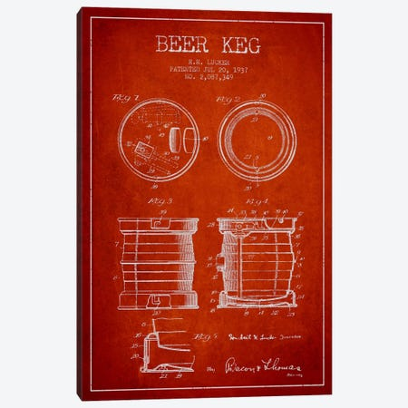 Beer Keg Red Patent Blueprint Canvas Print #ADP697} by Aged Pixel Canvas Art Print