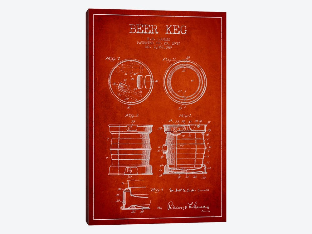 Beer Keg Red Patent Blueprint by Aged Pixel 1-piece Canvas Print