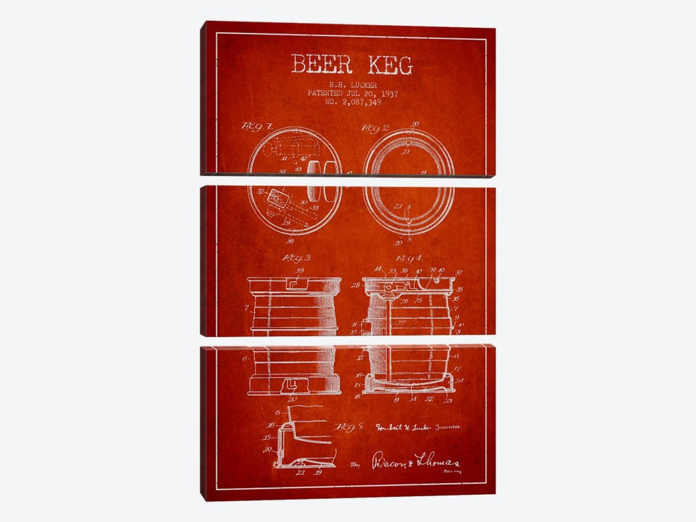 Beer Keg Red Patent Blueprint by Aged Pixel 3-piece Art Print
