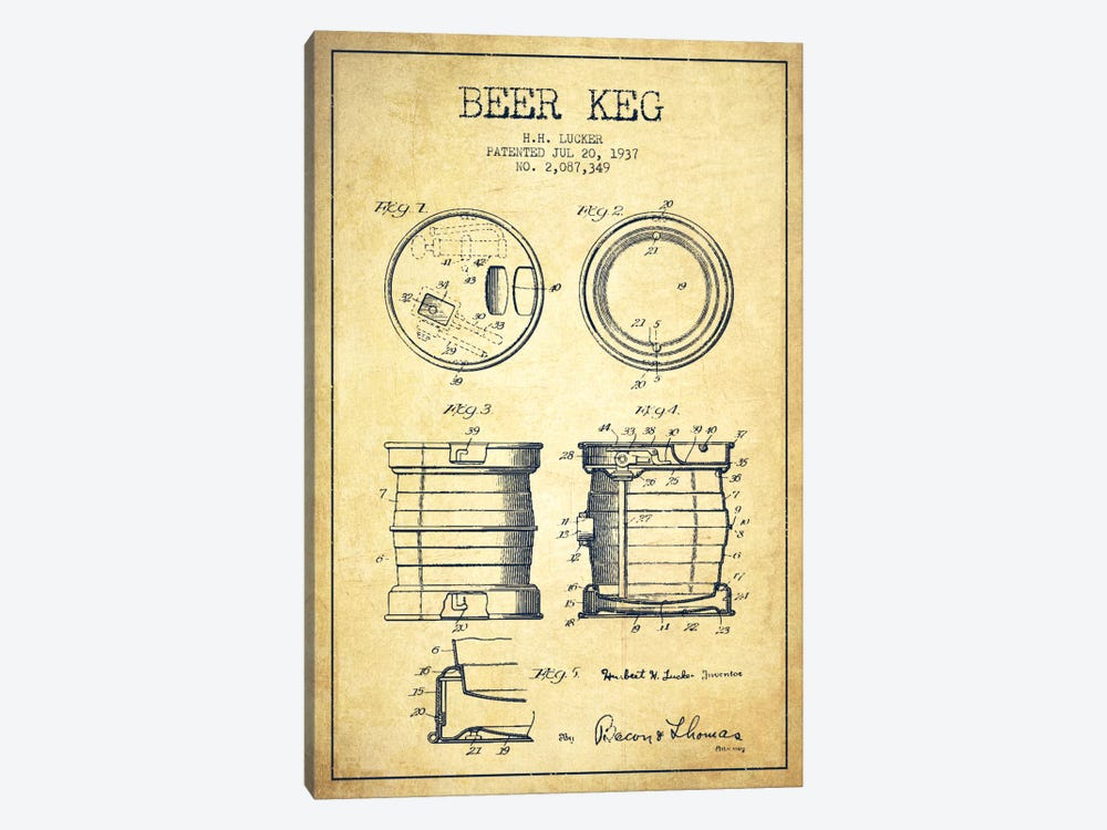 Beer Keg Vintage Patent Blueprint by Aged Pixel 1-piece Canvas Art