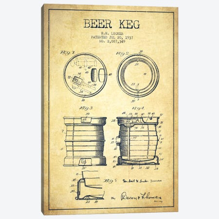 Beer Keg Vintage Patent Blueprint Canvas Print #ADP698} by Aged Pixel Canvas Wall Art